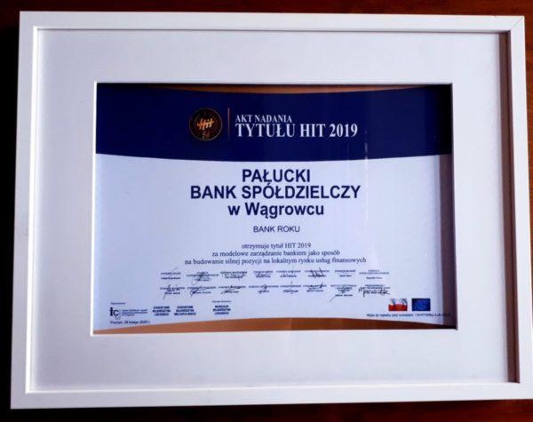 Nagroda HIT Regionów 2019 do naszego Banku